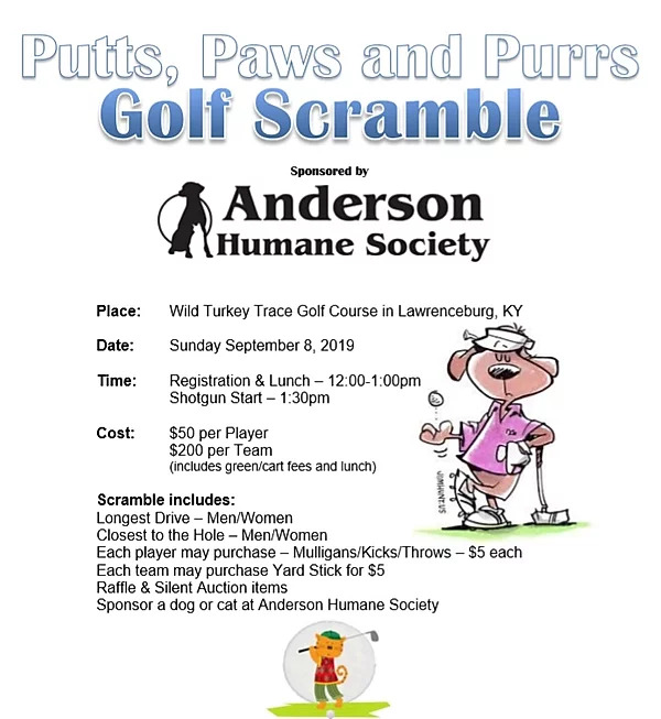 2019 Anderson Humane Society Putts, Paws and Purrs Golf Scramble Flyer